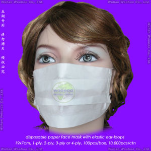 Disposable 1ply 2ply 3ply 4ply Paper Face Mask with Elastic Ear-Loops or Elastic Head-Loops pictures & photos