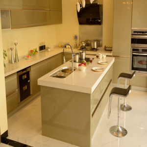 Metal Baking Lacquer Kitchen with Quartz Stone Worktop and Stainless Steel Door Wall Cabinet pictures & photos