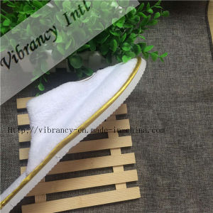Disposable White Coral Fleece Hotel Embroidery Slipper pictures & photos