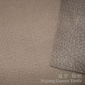 Embossed Leather Polyester Suede Fabric with Polar Fleece Backing pictures & photos