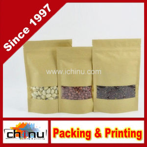 Stand up Aluminum Coated Kraft Paper Bag with Zipper Top and Window for Dried Food Nuts Tea Packaging (220124) pictures & photos