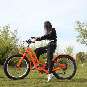 26′′48V 500W Fat Tire Electric Beach Motorcycle with Suspension pictures & photos