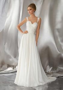 Sleeveless Wedding Dress Lace Corset Chiffon Beach Garden Traveling Bridal Gown W1839 pictures & photos
