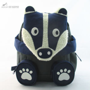 Boys Cute Dark Grey Badger Backpack pictures & photos