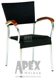 Aluminium Outdoor Furniture Wicker Chair with Wood Armrest (AS1018ARW) pictures & photos