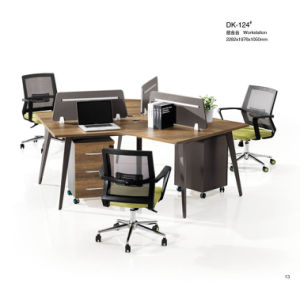 Brown MDF Office Desking Stystem with Partition pictures & photos