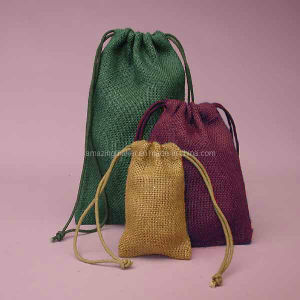 Natural Style Colored Burlap Jute Bag (AM-JB001)