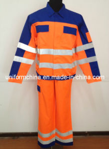 2013 Latest Style Contrast Color Workwear with Reflective Tape, Orange and Navy Popular T/C Work Shirt and Pants