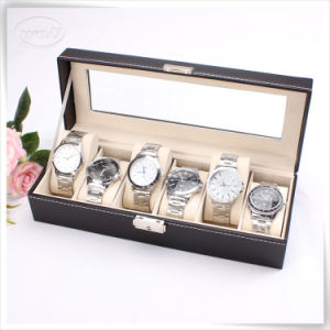 Eco-Friendly Handmade PU Leatherbrown Black Leather Watch Box for Men