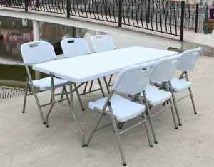 72inch Plastic Table Blue Outdoor Foldable Table pictures & photos
