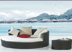 Outdoor Garden Rattan Furniture New Design Sunbed Black Wicker