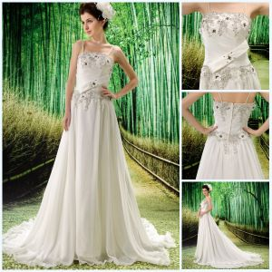 Good Appliqued Spaghetti Strap Beautiful Custom Made Prom Dress (BLF-024)