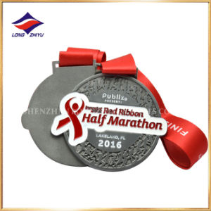 2016 Fashion Red Ribbon Half Marathon Medal Embossed Running Medal pictures & photos