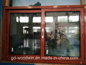 Woodwin High Quality Wood Grain Aluminum Sliding Window with Ss screen pictures & photos