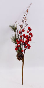 Artificial Vivid Christmas Flowers with Fruits for Holiday Decoration