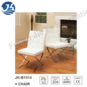 White Back Rest Leather Stainless Steel Dining Chairs (JK-B1014)