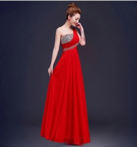 Chiffon Bridesmaid Formal Gown Jeweled Prom Evening Dresses E13907 pictures & photos
