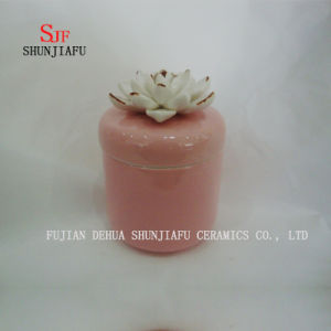 Colors Ceramic Jewelry Box with White Rose Flower Lid pictures & photos