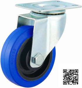5 Inch Medium Duty Blue Elastic Rubber Caster pictures & photos