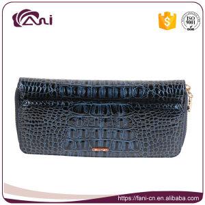 2017 Latest Design Wallets, Blue Crocodile Grain Genuine Leather Zip Wallet for Women pictures & photos