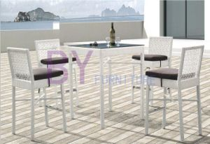 White Decorative Pattern PE Rattan Furniture with Low Back Chairs pictures & photos