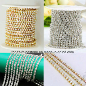 Ss8 2.5mm Peridot Strass Chain Crystal Brass Cup Chain (TCS-SS8 silver) pictures & photos