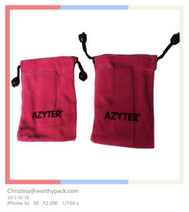 Pink Color Velvet Drawstring Gift Pouch for Gifts and Bonus