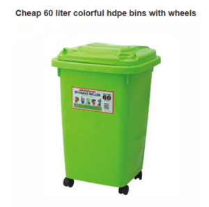 Cheap 60 Liter Colorful HDPE Bins with Wheels pictures & photos