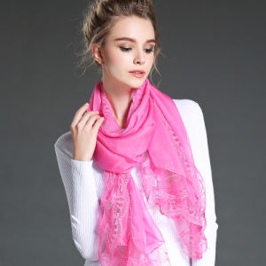 Mei Red Polyester Chiffon Scarf Lace Shawls for Women pictures & photos