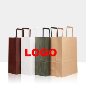 Custom Printed Kraft Paper Bag with Flat Handle for Germany pictures & photos