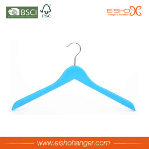 Fashion Display Blue Flat Wood Clothes Hanger pictures & photos