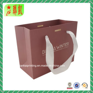 Custome Printed Art Paper Hand Bag with Ribbon Handdle pictures & photos