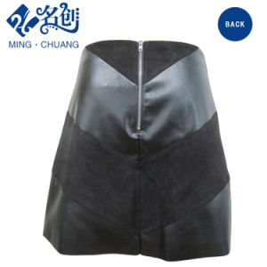 Newstyle Black Zipper fashion Summer Women Skirt with Plasticleather pictures & photos