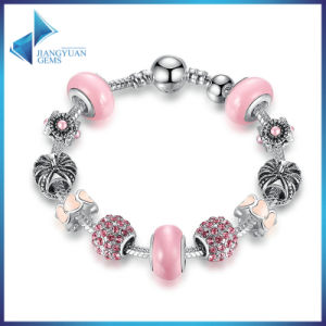 High Quality Charm Bracelet & Pink Murano Beads CZ Bracelets Jewelry pictures & photos