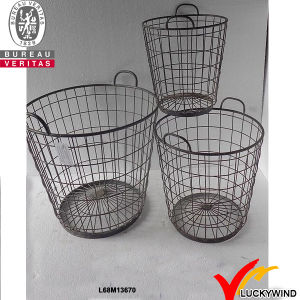 Antique Vintage Industrial Metal Wire Storage Basket with Wooden Handle pictures & photos