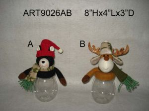 "8""H Moose and Bear Treat Jar Christmas Decoration Gift-2asst pictures & photos"