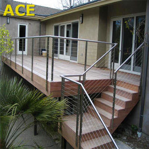 Stainless Steel Square Post Wire Railing with Timber Handrail pictures & photos