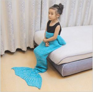 Solid Color Knitting Portable Mermaid Tail Fleece Blanket pictures & photos