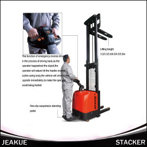 1600kg Adjustable Fork Electric Stacker (with pedal) pictures & photos