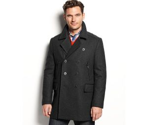 Men′s Faux Leather Trim Wool-Blended Peacoat pictures & photos
