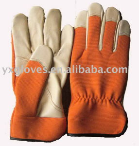 Orange Color Glove-Pig Leather Glove-Working Glove-Garden Glove pictures & photos