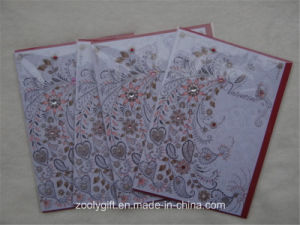 Diamond Decorated Hand-Made Art Paper Greeting Gift Card for Valentine′s Day pictures & photos