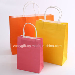 Printing Kraft Paper Shopping Carrier Bag with Twisted Handle pictures & photos