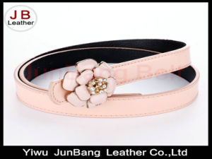 Metal Flower Buckle Polyester Elastic Belt for Ladies pictures & photos