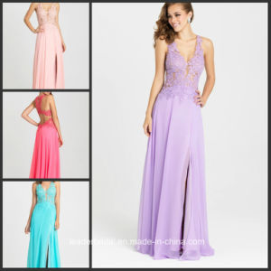 Lace Prom Gown Lilac Chiffon Blush Evening Dresses Y16327 pictures & photos