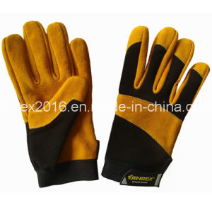 Cow Spilt Leather Promotion Mechanical Construction Worker Working Gloves pictures & photos