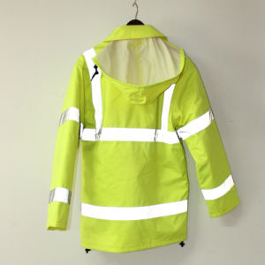 Lucifer Yellow Lime Hooded PU Jacket/Raincoat/Reflective/Safety Clothing for Adult pictures & photos