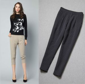 P9215 Striped Leisure 100% Cotton Slim Ninth Harem Women Trouser pictures & photos