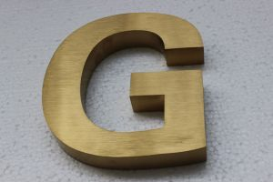 Non Illuminated Brushed Titanium Gold Plated Stainless Letter Sign pictures & photos