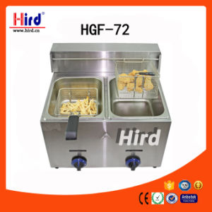 Ce Approved Two Tanks Gas Fryer (HGF-72)